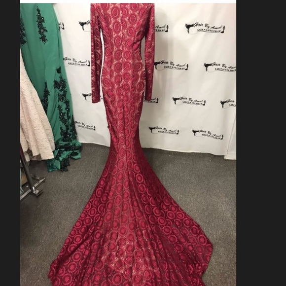 Sherri Hill Dresses | Red Long Sleeve Lace Evening Gown With Long ...